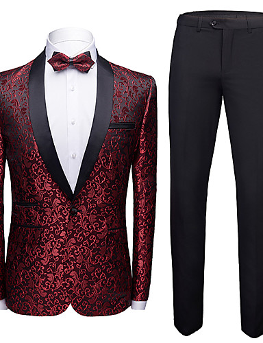 cheap Tuxedos & Suits-Tuxedos Tailored Fit Shawl Collar Single Breasted One-button Polyester Jacquard