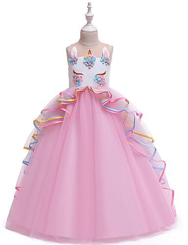 preiswerte Unicorn Dresses-Kinder Mädchen Retro Süß Unicorn Einfarbig Mehrlagig Patchwork Ärmellos Maxi Kleid Rosa