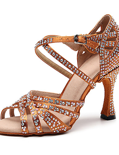 preiswerte Tanzschuhe-Damen Tanzschuhe Kunstleder Schuhe für den lateinamerikanischen Tanz Strass Absätze Keilabsatz Maßfertigung Schwarz / Braun / Leistung / Leder / Praxis
