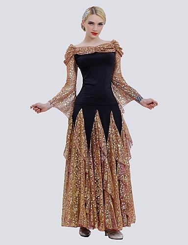 cheap Ballroom Dancewear-Ballroom Dance Skirts Glitter Pattern / Print Women's Performance Long Sleeve Tulle Ice Silk
