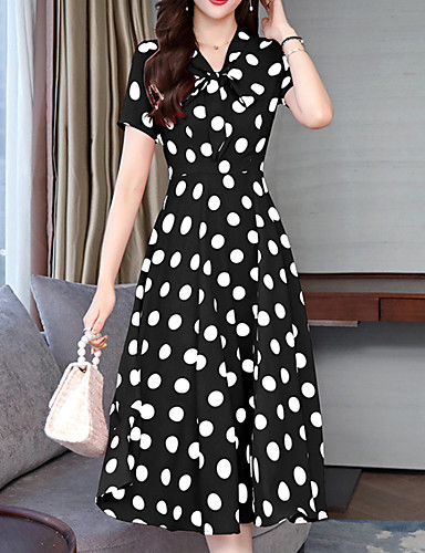 preiswerte Damenbekleidung-Damen A-Linie Kleid - Druck, Geometrisch Midi