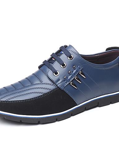 billige Oxford-sko til herrer-Herre Komfort Sko Fuskelær Vår sommer Fritid / Britisk Oxfords Skli Fargeblokk Svart / Lysebrun / Blå / Fest / aften / Nagle / Fest / aften