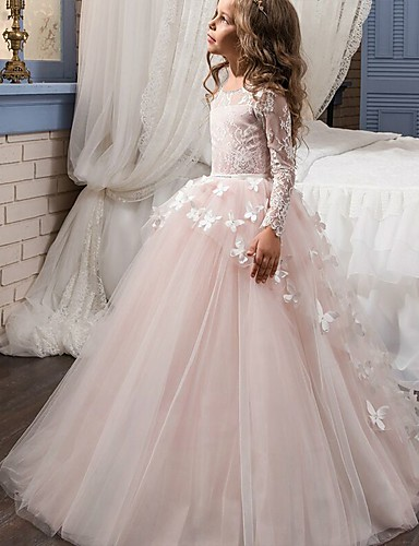 cheap Flower Girl Dresses-Ball Gown Sweep / Brush Train Flower Girl Dress - Lace Long Sleeve Jewel Neck with Appliques / Bow(s) by LAN TING Express