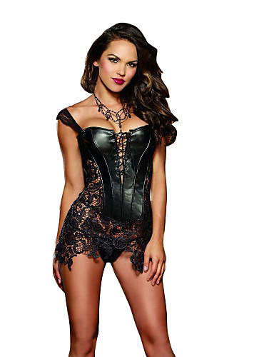 cheap Lingerie-Normal PU Corset Super Sexy Solid Colored Special Occasion Lace
