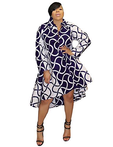 levne Šaty velkých velikostí-Dámské Sofistikované Košile Šaty - Proužky, Tisk Asymetrické