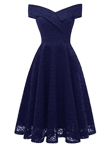 preiswerte Partykleider >Reduziert auf $9,99-A-Linie Schulterfrei Tee-Länge Spitze Vintage Inspirationen Abiball Kleid mit Spitzeneinsatz durch LAN TING Express