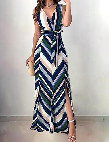 voordelige Maxi-jurken-Dames Elegant A-lijn Jurk - Gestreept Diepe V-hals Maxi