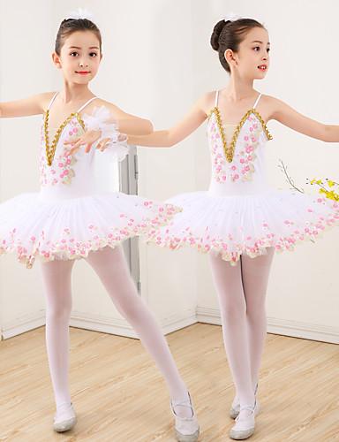 billige Ballettantrekk-Danseklær til barn Ballet Kjole Appliqué Ruchiing Kombinasjon Jente Trening Ytelse Ermeløs Spandex