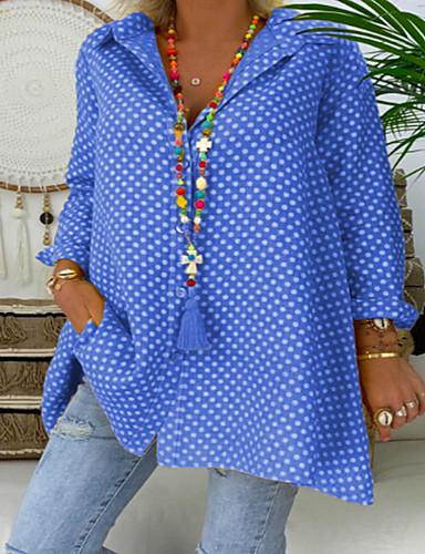 billige Dametopper-Løstsittende Skjortekrage Store størrelser Skjorte Dame - Polkadotter Rød