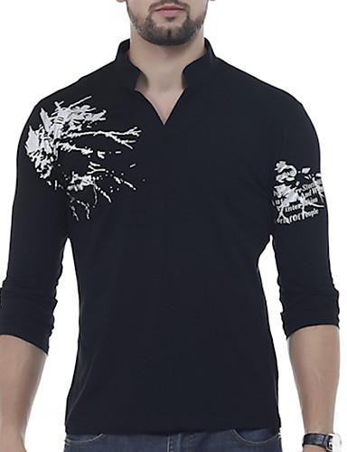 levne Pánské košile-Pánské - Grafika / Písmeno Tričko, Tisk Bavlna Do V Černá