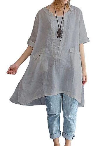 billige Dametopper-Løstsittende Store størrelser Skjorte Dame - Ensfarget Svart
