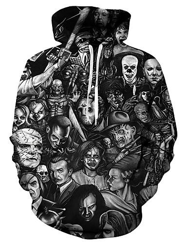 cheap Hoodies & Sweaters-Men's Plus Size Hoodie 3D / Skull / Portrait Hooded Casual / Basic Black S M L XL XXL XXXL XXXXL XXXXXL