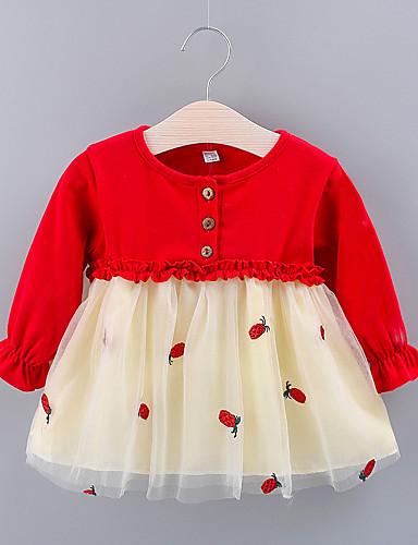 preiswerte Baby & Kinder-Baby Mädchen Grundlegend Frucht Gitter Langarm Übers Knie Kleid Rote