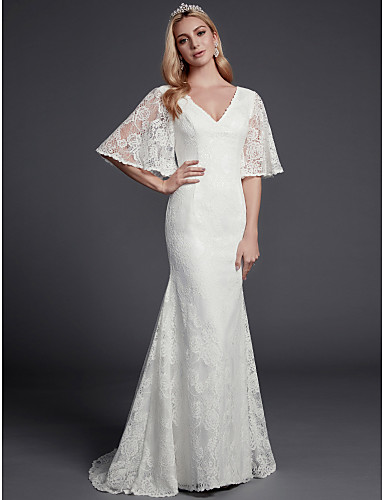 cheap Wedding Dresses-Mermaid / Trumpet V Neck Sweep / Brush Train Lace Half Sleeve Beautiful Back Wedding Dresses with Lace 2020