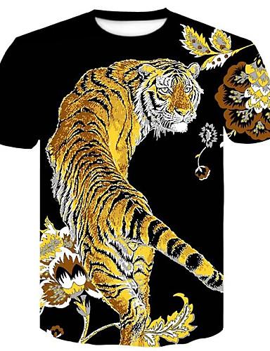 voordelige Heren T-shirts & tanktops-Heren Print Grote maten - T-shirt Katoen Bloemen / dier Ronde hals Slank Zwart