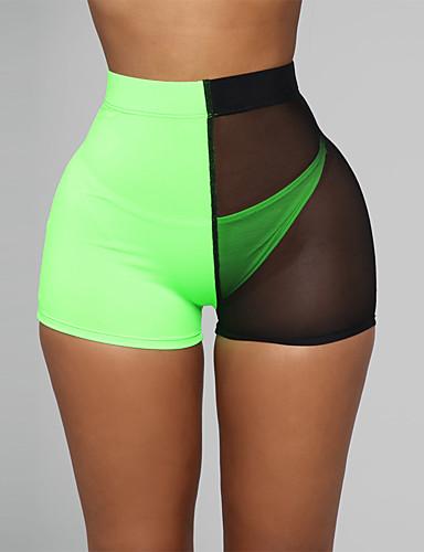 cheap Women's Shorts-Women's Sexy Shorts Pants - Patchwork Mesh High Waist Orange Red Light Green S M L