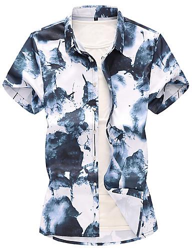 ieftine Tricou Bărbați-Bărbați Mărime Plus Size Cravată Cămașă Chinoiserie Concediu Alb / Manșon scurt