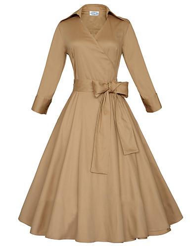 preiswerte Leicht zu tragende Shirt-Kleider-Damen Übergrössen Retro Baumwolle A-Linie Kleid - Schleife, Solide Midi Hemdkragen