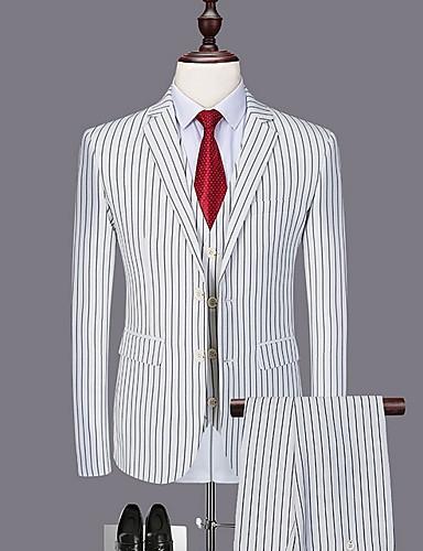 levne Pánské blejzry a saka-Pánské Větší velikosti Obleky, Proužky Košilový límec Polyester Černá