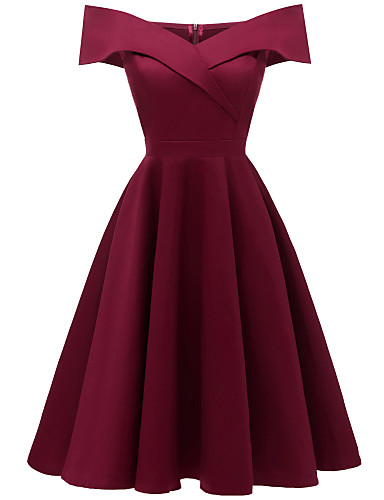 cheap Special Occasion Dresses-A-Line Hot Red Homecoming Cocktail Party Dress Off Shoulder Short Sleeve Knee Length Stretch Satin Cotton with Pleats 2020