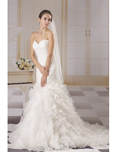 6da7442af921 Mermaid / Trumpet Sweetheart Neckline Court Train Lace / Tulle  Made-To-Measure Wedding Dresses with Appliques / Lace / Cascading Ruffles  by ANGELAG 7315789 ...