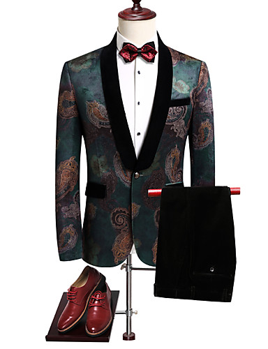 voordelige Bruidegom & Bruidsjonkers-Smokings Standaard pasvorm Sjaalkraag Single Breasted een knoops Polyester / Katoenmix / Polyster Bloemen
