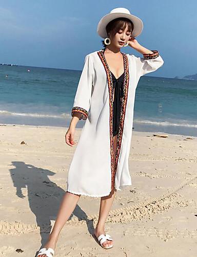 preiswerte Cover ups-Normal Polyester-Baumwoll-Gemische Vertuschungen Geschlechtsneutral Stickerei Bikini Kombination