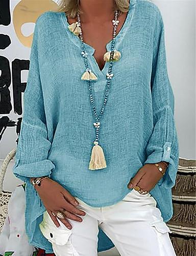 billige Bluser-Løstsittende V-hals Store størrelser Bluse Dame - Ensfarget Svart