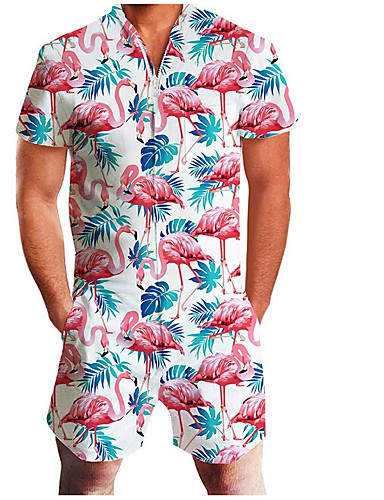 preiswerte Herrenhosen & -shorts-Herrn Grundlegend V-Ausschnitt Weiß Rote Grün Jumpsuit Einteiler, Geometrisch Druck M L XL