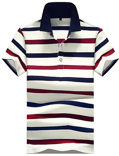levne Pánská polo trika-Pánské - Proužky Polo Košilový límec Štíhlý Trávová zelená