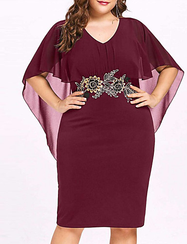 preiswerte Damenbekleidung-Damen Grundlegend Hülle Kleid Solide Knielang