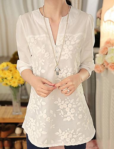 billige Skjorter til damer-V-hals Skjorte Dame - Ensfarget / Blomstret, Broderi Hvit