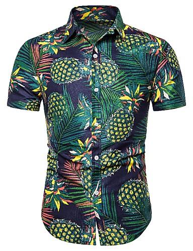 levne Pánské košile-Pánské - Květinový Čínské vzory Košile, Tisk Černá a šedá Námořnická modř