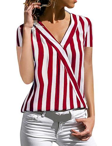 billige Skjorter til damer-V-hals Skjorte Dame - Stripet, Stripe / Chiffon Svart / Vår / Sommer / Høst