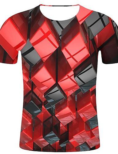 levne Pánská tílka-Pánské - Geometrický / 3D / Grafika Větší velikosti Tričko, Tisk Bavlna Kulatý Rubínově červená