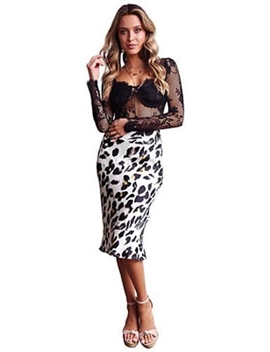 0deba8fb7 [$13.85] Mujer Básico Corte Bodycon Faldas - Estampado, Leopardo Blanco S M  L