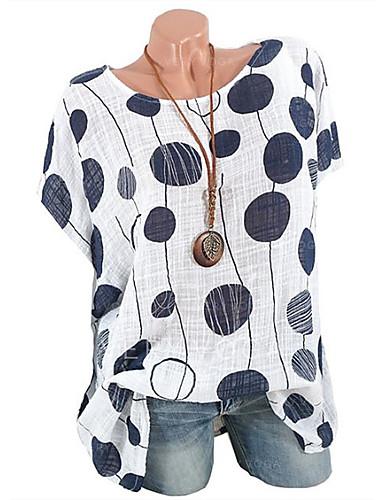 billige Dametopper-Store størrelser T-skjorte Dame - Ensfarget / Polkadotter / Geometrisk Grunnleggende Rosa