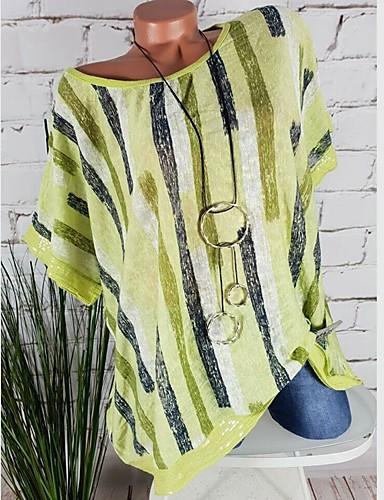 billige Dametopper-Løstsittende Store størrelser Skjorte Dame - Stripet, Lapper / Trykt mønster Grunnleggende Hvit