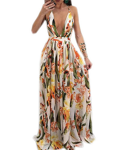 cheap Floral Patterns Dresses-Women's Sheath Dress Yellow L XL XXL