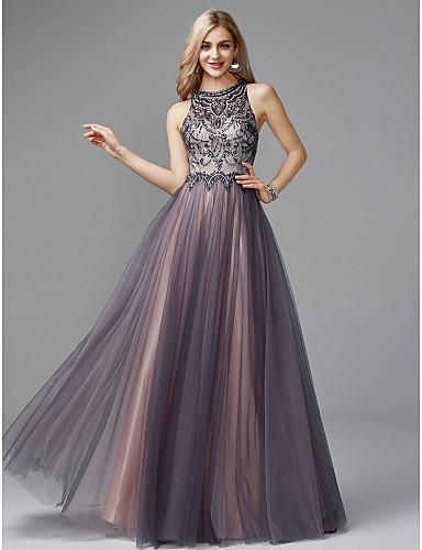 povoljno Haljine za svatove-A-kroj Ovalni izrez Do poda Til ključaonica Prom / Formalna večer Haljina s Perlica po TS Couture®