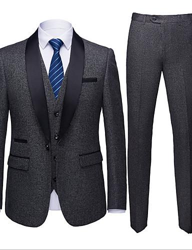 levne Pánské blejzry a saka-Pánské Větší velikosti Obleky, Jednobarevné Košilový límec Polyester Armádní zelená / Khaki / Námořnická modř / Štíhlý