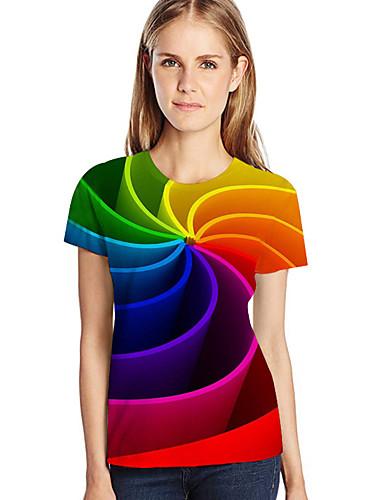 billige T-skjorter til damer-Løstsittende Store størrelser T-skjorte Dame - Geometrisk / 3D / Grafisk, Trykt mønster Rød