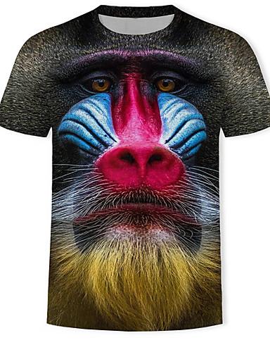 voordelige Herenbovenkleding-Heren Print T-shirt 3D / dier / Cartoon Zwart