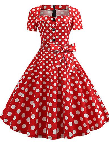 cheap Polka Dot Dresses-Women's Vintage 1950s A Line Dress - Polka Dot Print Square Neck Summer Navy Blue Rainbow Wine L XL XXL