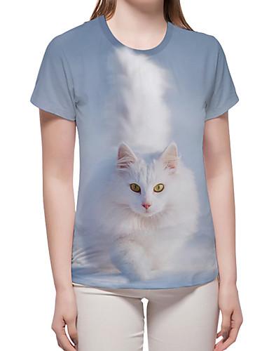 billige Topper til damer-T-skjorte Dame - 3D / Grafisk / Dyr, Trykt mønster Grunnleggende / overdrevet Katt / Fantastiske dyr Lyseblå