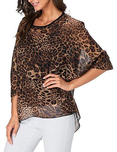 billige Dametopper-Oversized Bluse Dame - Polkadotter / Blomstret / Leopard, Trykt mønster Bohem Gul