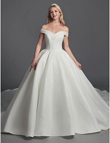 cheap Wedding Dresses-Ball Gown Off Shoulder Sweep / Brush Train Organza / Satin Sleeveless Glamorous Plus Size Wedding Dresses with Draping 2020