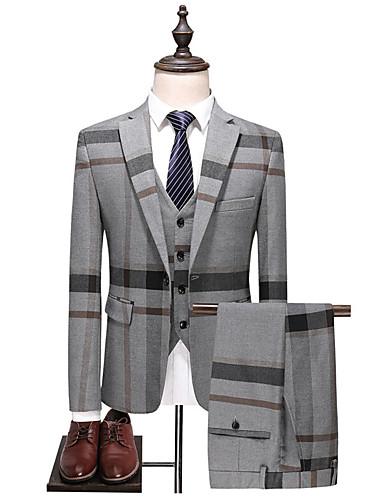 preiswerte Anzüge-Herrn Anzüge, Einfarbig Gekerbtes Revers Polyester Marineblau / Grau
