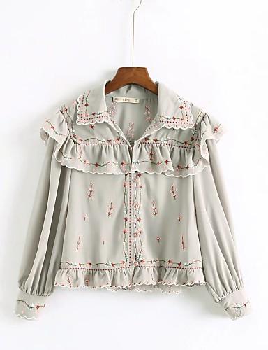 billige Dametopper-Skjorte Dame - Blomstret, Drapering / Broderi Bohem Lysegrønn