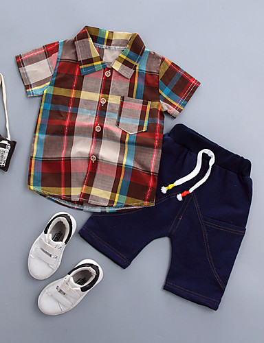 preiswerte Sommerurlaub Hot Sale-Baby Jungen Grundlegend Druck Kurzarm Standard Standard Baumwolle Kleidungs Set Orange